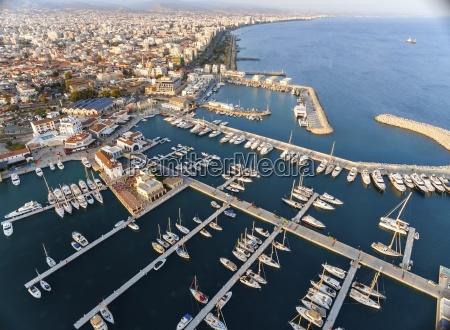 aerial view of limassol marina cyprus