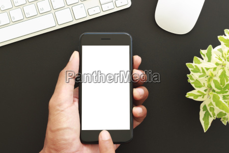 hand hold phone white screen display