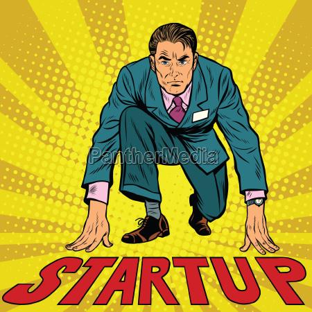 startup retro businessman on starting line
