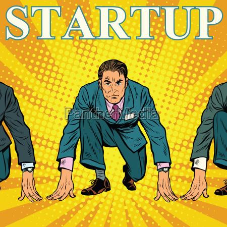 startup retro businessman on the starting