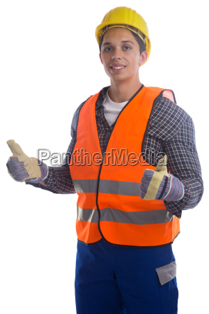 construction worker construction thumbs up cut