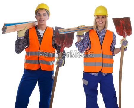 construction worker construction man woman cut