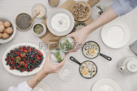 breakfast overhead view of dishes of