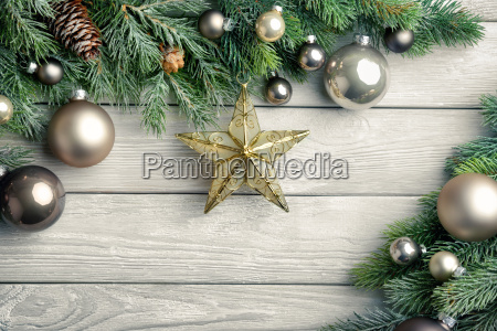 christmas background woodpine branchesstar and christmas