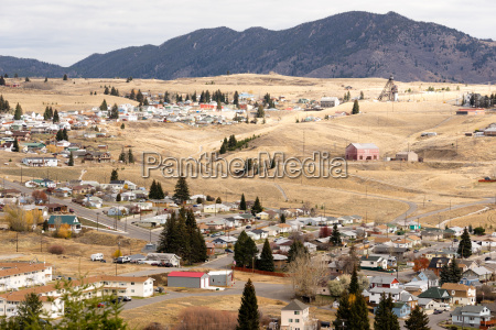 high angle overlook walkerville montana downtown