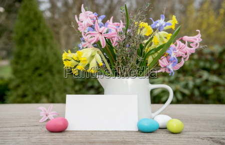 spring bouquet with easter eggs and