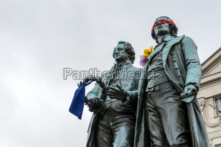 monument to goethe and schiller before
