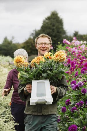 two people working in an organic