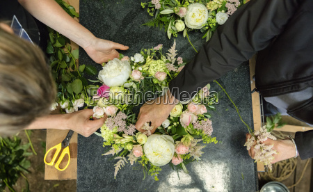 a florists workshop overhead view of