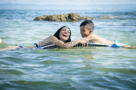 mother and son having fun on