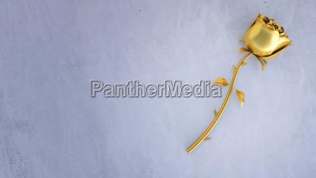 3d rendering goldene rose auf beton