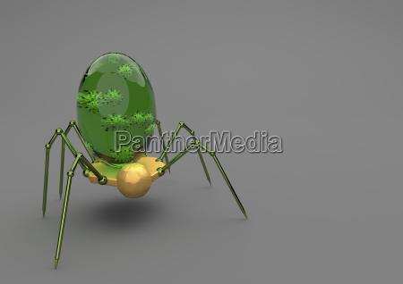 nanobot mit virus auf grauem hintergrund