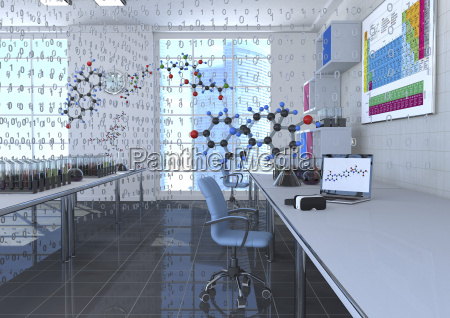3d illustration digital chemistry room