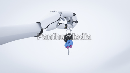 robot hand giving car key electric