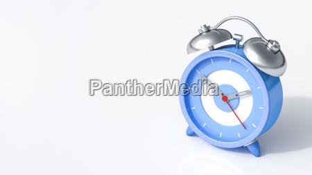 3d rendering blue alarm clock