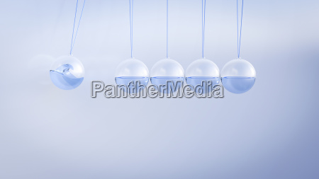 newtons cradle filled with water 3d