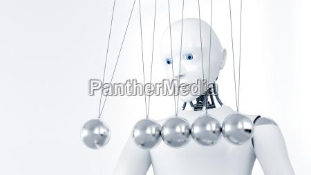 robot watching newtons cradle 3d rendering