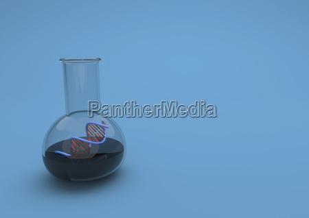 3d illustration reagenzglas mit dna