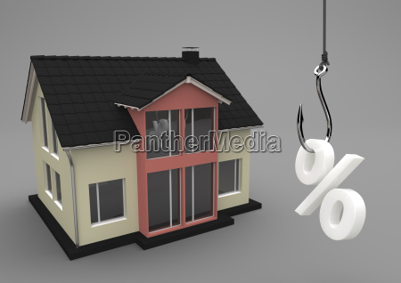3d illustration house building with fishhook