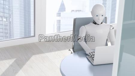 robot on laptop 3d rendering