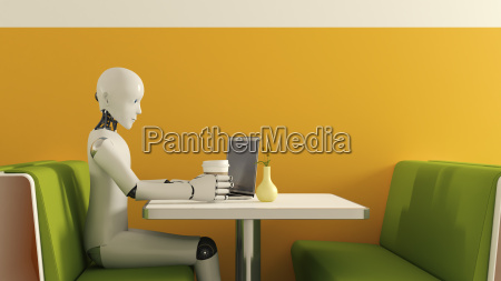 robot with laptop in cafe 3d