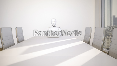 robot in office using laptop 3d