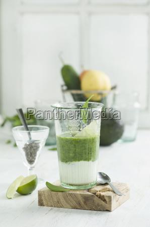 green smoothie ingredients chia seeds yogurt