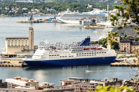 norway oslo cruise liners at the