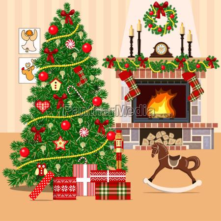 weihnachten eingerichtete zimmer mit weihnachtsbaum