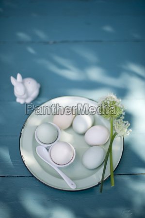 easter decoration easter eggs on plate