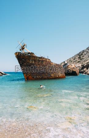 greece cyclades islands amorgos man swimming