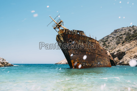 greece amorgos shipwreck of the olympia