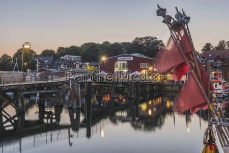 germany schleswig holstein eckernfoerde harbour with