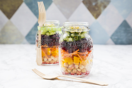 two glasses of rainbow salad with