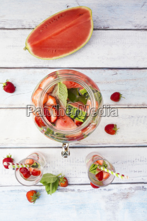 detox water infused water watermelon strawberry