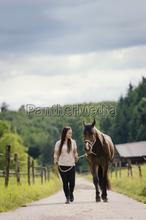 young woman leading young brown horse