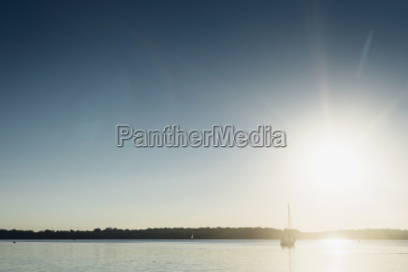 sailing boat on lake cospuden at
