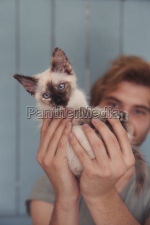 young man holding kitten close up