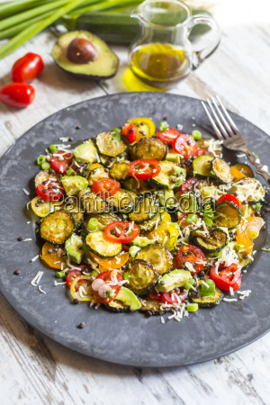 courgette salad with avocado lentils spring