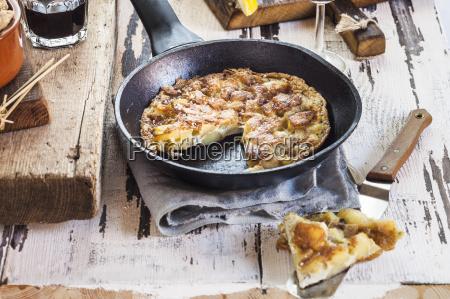 potato tortilla in pan