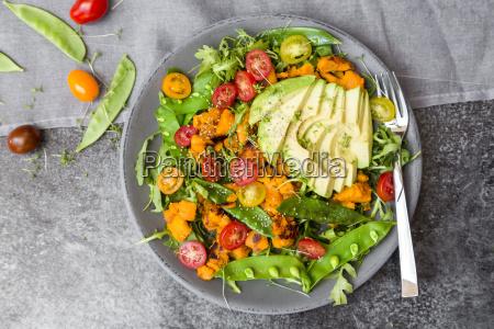 fresh salad with rocket sweet potato