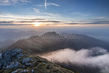germany bavarian alps sunset seen from