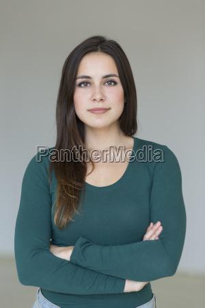 portrait of confident brunette young woman