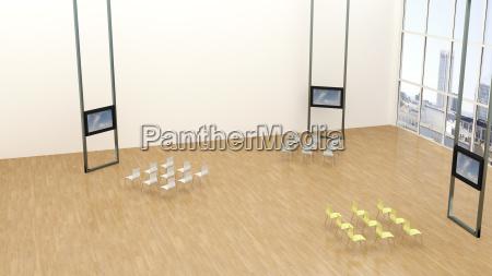 training room with three monitors 3d