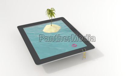 tablet with floating tire and island