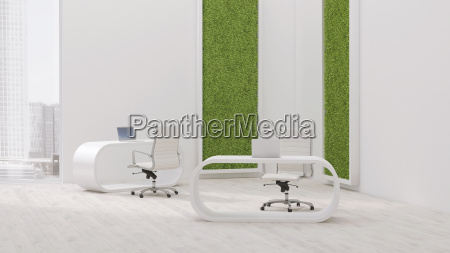 modern office with living wall 3d