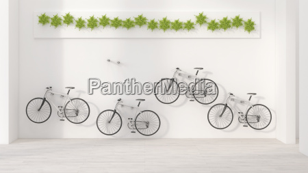 four bicycles hanging on wall 3d