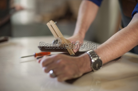 close up of man working in