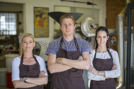 coffee roasting shop staff in front
