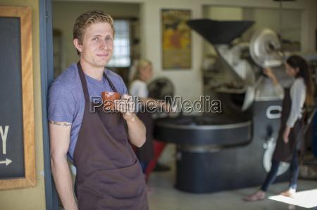 coffee roaster having a coffee break